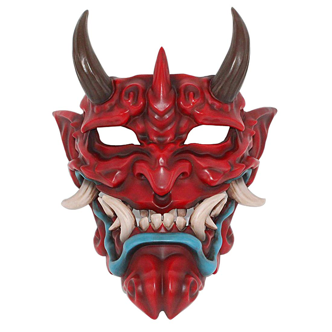 Hophen Scary Japanese Prajna Grimace Tooth Halloween Mask Costume Collectible Wall Hanging Mask (Red)