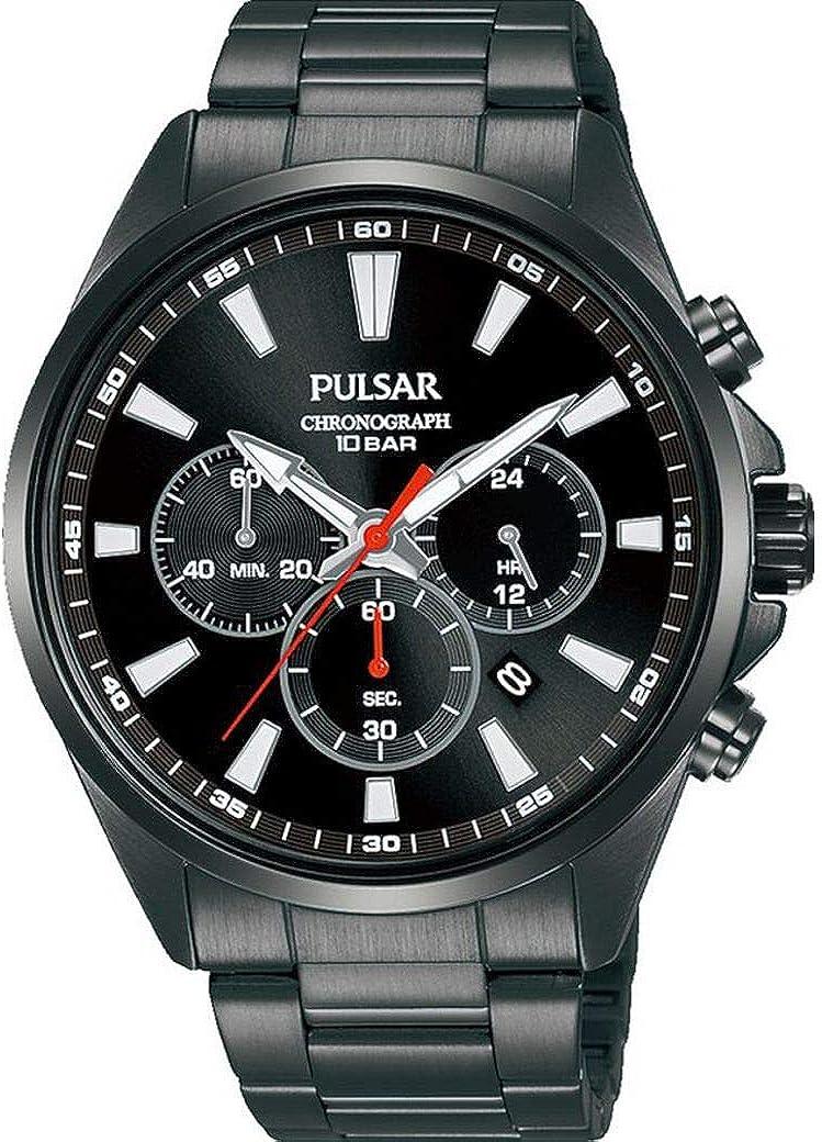 Pulsar - Reloj de Acero para Hombre, Color Negro