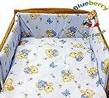 BlueberryShop 2 pcs BABY COT BED BUNDLE BEDDING SET DUVET+PILLOW COVERS 90 x 120 cm (35.5'' x 47'') ( 0-7Yrs ) ( 120 x 90 cm ) Blue Bear