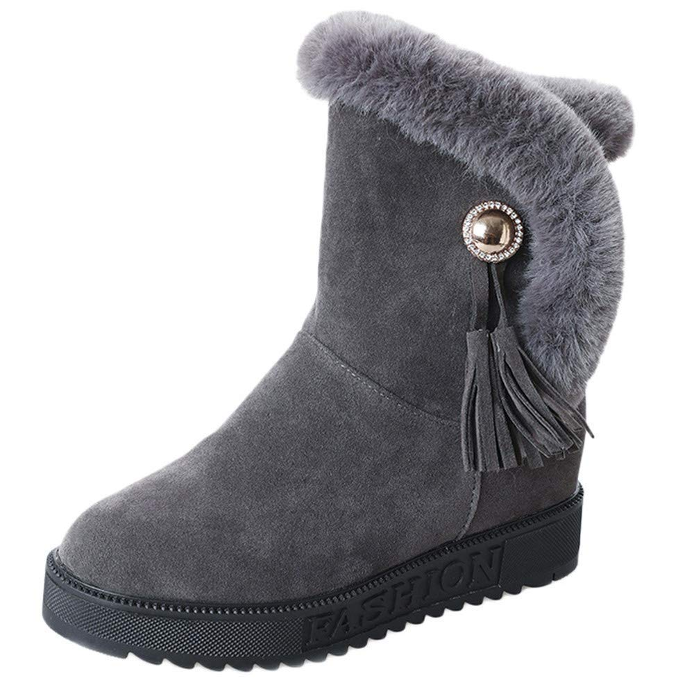 grey Lady Boots Women Suede Plush Tassel Round Toe Flat shoes Keep Warm Slip-On Snow Boots Fashion Leisure Elegant Cosy Wild Tight Super Quality for Womens