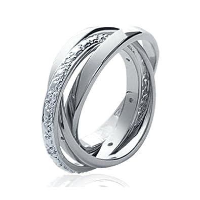 nuevo estilo y lujo auténtico moda mejor valorada Anillo Alianza Trio Triple 3 anillos como 1 con brillantes ...