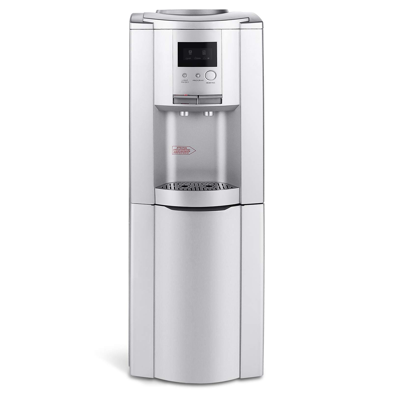 4-EVER Top Loading 5 Gallon Water Cooler Dispenser Freestanding Water Dispenser,Storage Cabinet Hot and Cold Water,LED Display, Silver