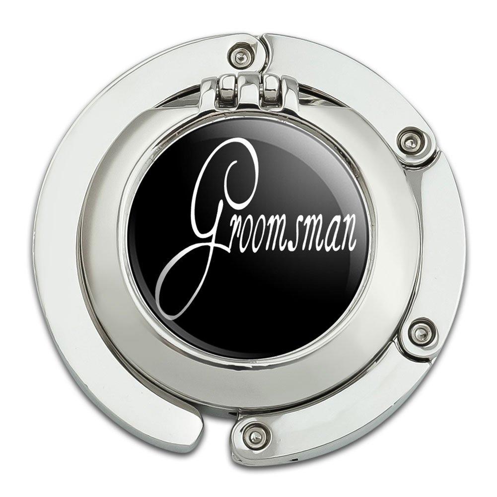 Groomsman Wedding Foldable Table Bag Purse Caddy Handbag Hanger Holder Hook with Folding Compact Mirror