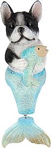 Seefun Outdoor Mermaid Statues Garden Sitting Dog Figurine Nautical Fairy Animal Decorations for Patio Bedroom