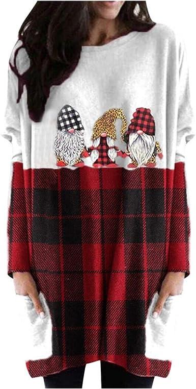 Christmas Shirts for Women Long Sleeve Gnomes Print Graphic Sweatshirt Red Plaid Patchwork Long Tunic Tops Mini Dress