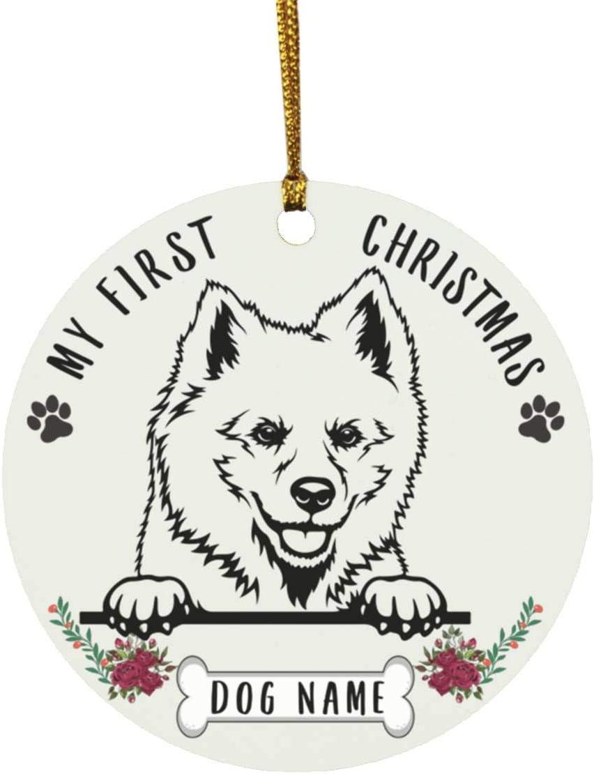 Lovesout Personalized Name American Eskimo Dog Peeking Puppys First Christmas 2020 Ornament White Ceramic Circle