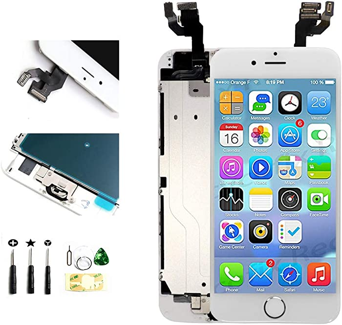 with Front Camera Facing Proximity Sensor Earpiece Speaker Home Button Full Assembly Digitizer Display LCD Screen Replacement for iPhone 6s Plus 5.5 Inch White