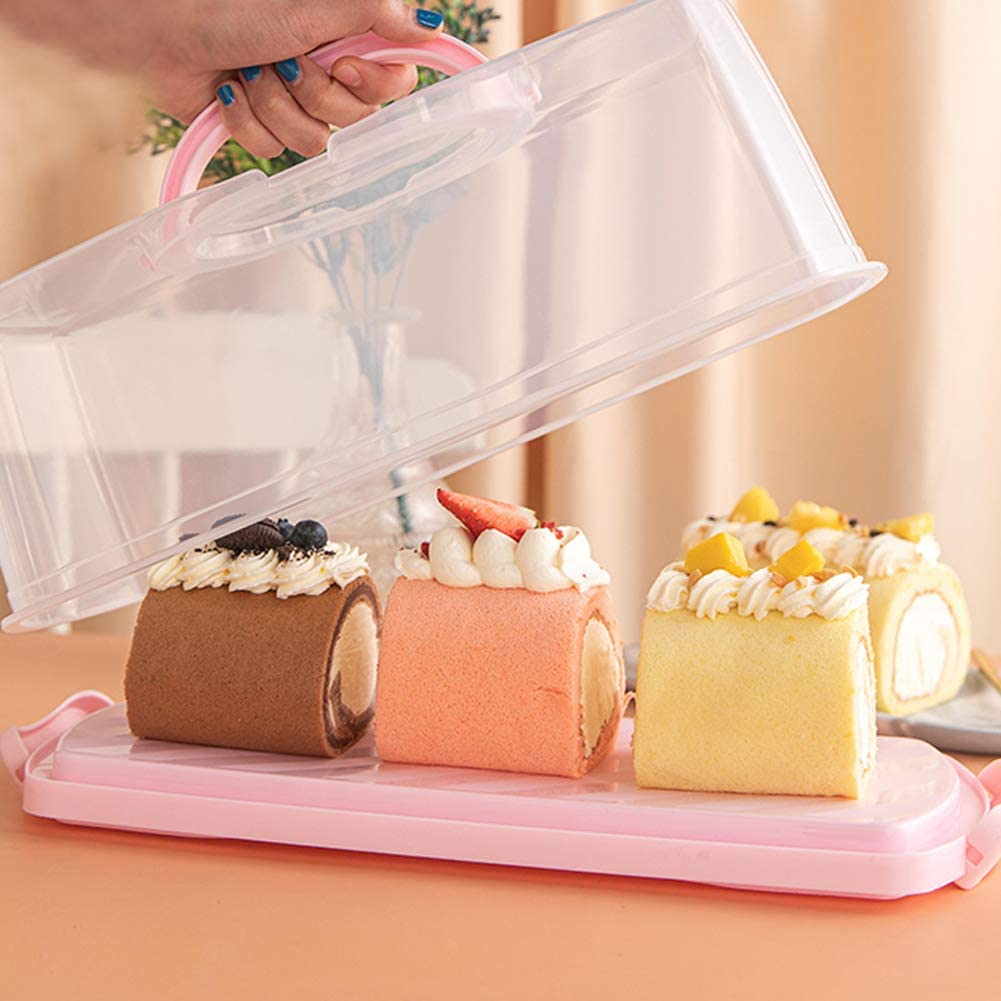 Portable Plastic Rectangular Loaf Bread Box with Clear Lid 13inch Translucent Cake Container Keeper for Storing and Transporting Loaf Cakes,Banana Bread,Pumpkin Bread White, 1 Pack