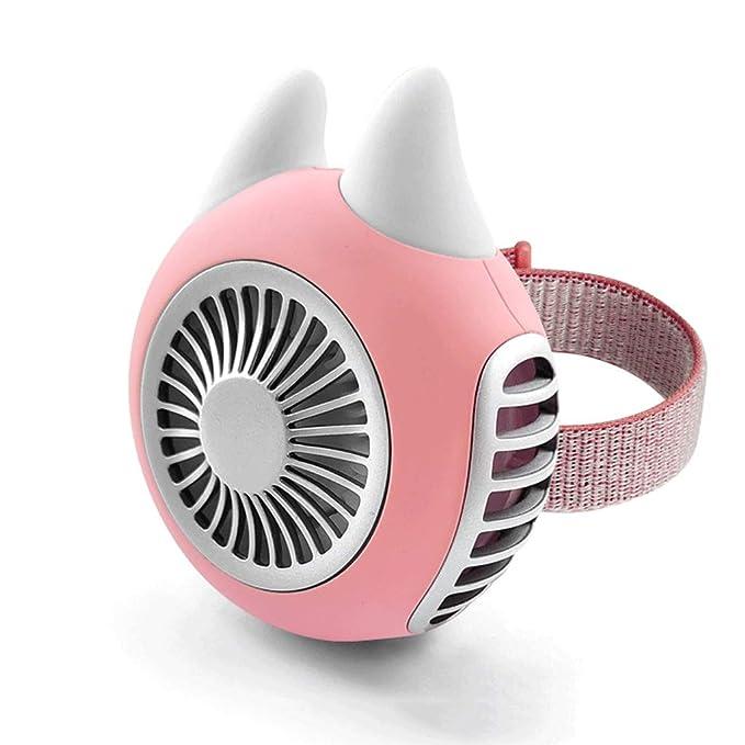 Fan Fan LH Shop Mini Ventilador, Ventilador Exterior portátil, Ventilador USB eléctrico, Ventilador de Mano, Ventilador de Pulsera, batería Recargable de 1500 mAh (Color : Pink, Edition : Moe Rabbit)