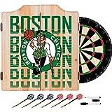 Trademark Gameroom NBA7010-BC3 NBA Dart Cabinet Set with Darts & Board - City - Boston Celtics