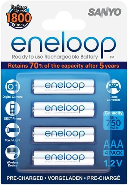 Sanyo Eneloop - Pack de 4 pilas recargables (NiMh, AAA, 750 mAh), blanco: Eneloop: Amazon.es: Electrónica