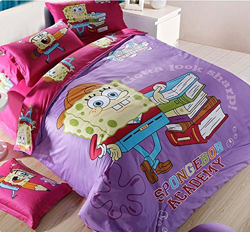 Lt Twin Full Queen Size 4-pieces Spongebob Squarepants Purple Green White Blue Pink Brown Red Character Cartoon Toddler Prints Fitted Sheet Sets (With Rubber Around )Duvet Cover Set/bed Linens/bed Sheet Sets/bedclothes/bedding Sets/bed Sets/bed Covers/5-pieces Comforter Sets/bed in a Bag (Full, 5pcs with comforter)