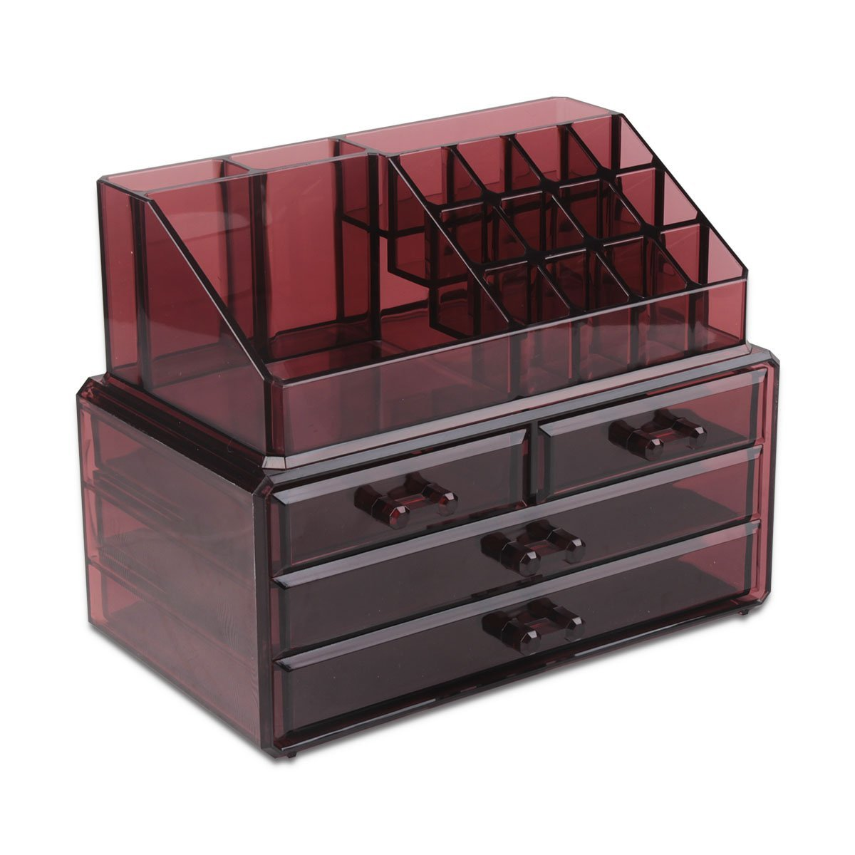 Switol Design Acrylic Jewelry & Cosmetic Makeup Organizer Storage Display Boxes, Two Pieces Drawers Set (Burgundy)