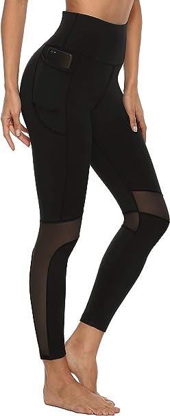 Blickdicht Sporthose Yogahose Streetwear Persit Damen Sport Leggins mit Taschen
