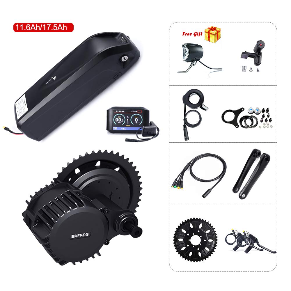750C color Display 120mm 46T with battery 17.5Ah 8fun Bafang BBSHD BBS03 48V 1000W Mid Motor Ebike Conversion Kit with Hailong Lithium Battery 11.6Ah 17.5Ah