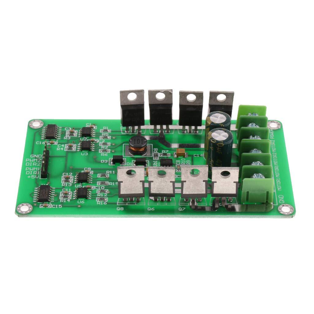 Prettyia 2 Way DC Motor Driver Board Module PWM Controller H-Bridge Mosfet Circuit Panel DC 3-36V 10A Peak 30A