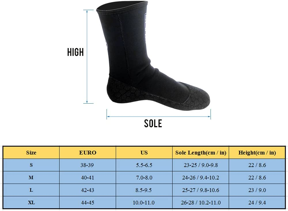 Walmeck SLINX Stylish Unisex Stretchable Insulated Comfortable 3mm Swimming Socks Swimwear Wetsuit Neoprene Diving Socks Anti Scratches Warming Snorkeling Socks for Beach Swimming Yoga Diving Surfing
