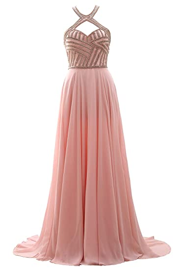 2ef2df573904 MACloth Women Halter Beaded Long Prom Dress Open Back Formal Evening Gown:  Amazon.co.uk: Clothing