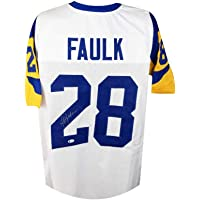 $149 » Marshall Faulk Autographed St Louis Rams White Custom Football Jersey - BAS COA