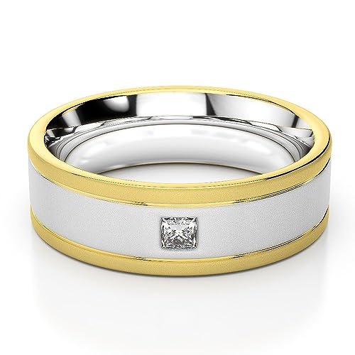 AG & Sons Unisex Hombre 750 Gold Oro blanco y amarillo, 18 kt princess-