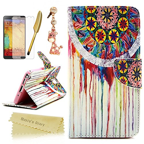 Galaxy Note 3 Wallet Case,Mavis's Diary Special Tribal Flower PU Leather Magnetic Clasp Card Holder Flip Cover for Samsung Galaxy Note 3 & Cute Giraffe Dust Plug& Screen Protector& Golden (Cute Diy Halloween Cards)