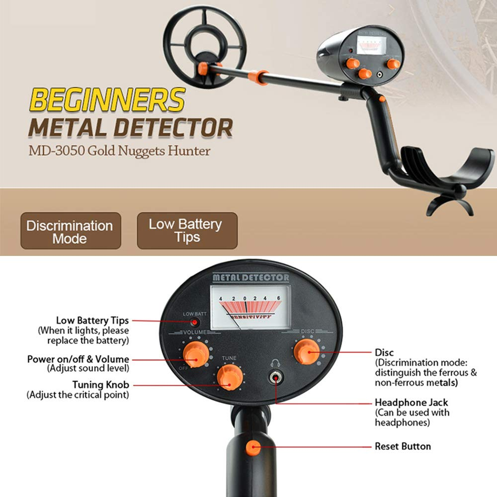 Amazon.com : wedigout Metal Detector with Pinpointer Waterproof Search Coil Digging Tool, Pointer Viewer Display(MD-3050) : Garden & Outdoor