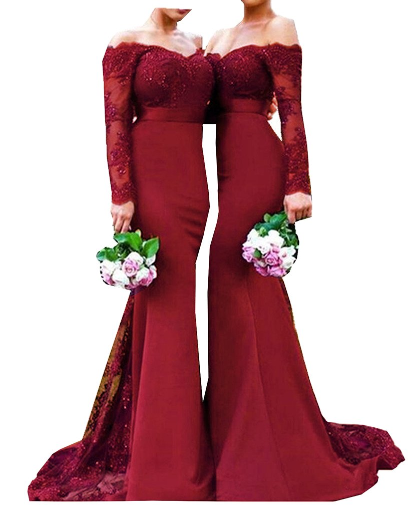 Half Flower Bridal Long Sleeves Evening Dress Sweetheart Lace Mermaid Bridesmaid Gown Style 10 Wine Red US16