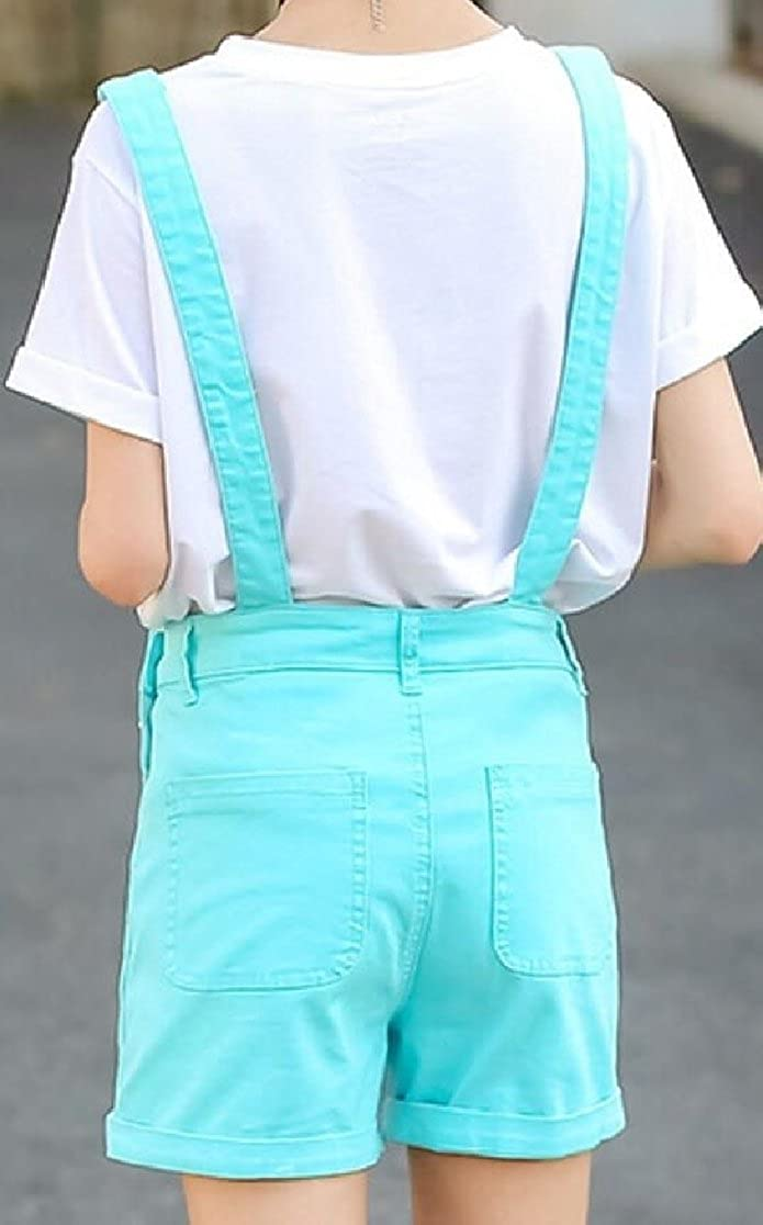 Gocgt Women Short Solid Color Overalls Bib Stylish Jeans