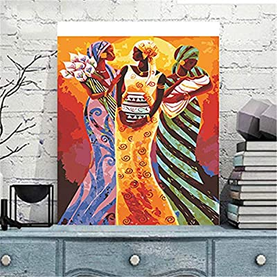 DIY Oil Painting Paint by Number Kit for Adults, Paint by Numbers for Kids Drawing with Brushes Paint, Suitable for All Skill Levels 40X50cm -Afro-American Woman Mom: Toys & Games
