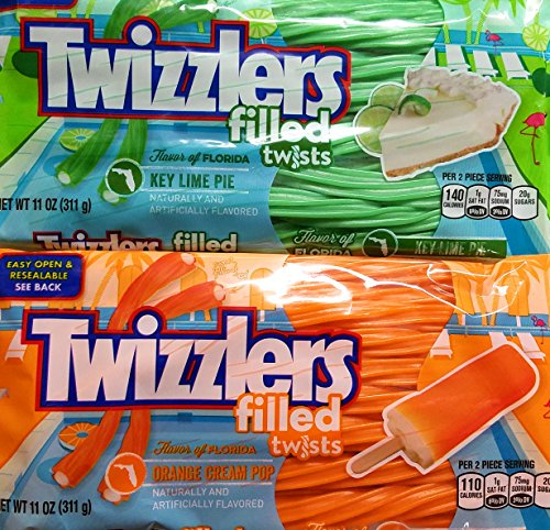 Key Lime Cream - Twizzlers Filled Twists Key Lime Pie and Orange Cream Pop Bundle 2 Pack (11 ounce)