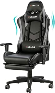 Hbada Gaming Chair Racing Style Ergonomic High Back Computer Chair with Height Adjustment, Headrest and Lumbar Support E-Sports Swivel Chair, Gray with Footrest(1-Year Warranty)