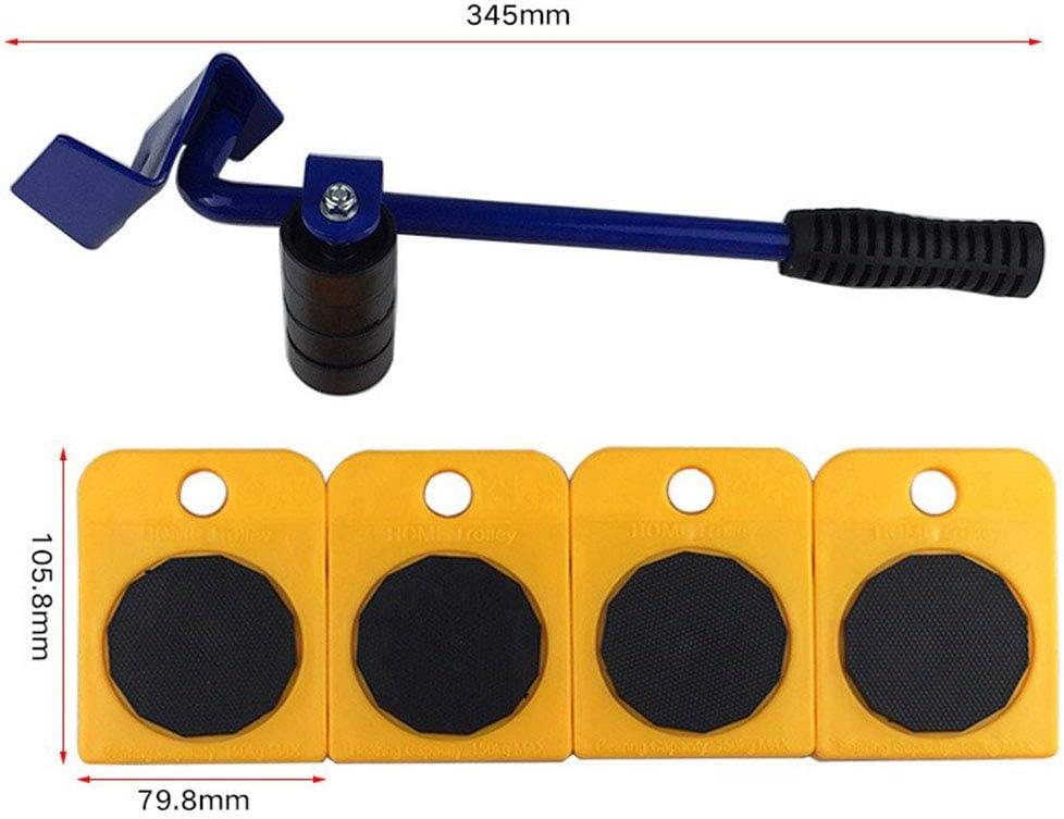 Etbotu 5/pcs//Ensemble de meubles /él/évateur de transport lourd affaires Moving Outil 4/roulettes /à Mover Roller 1/molette Barre de Lot doutils /à main jaune