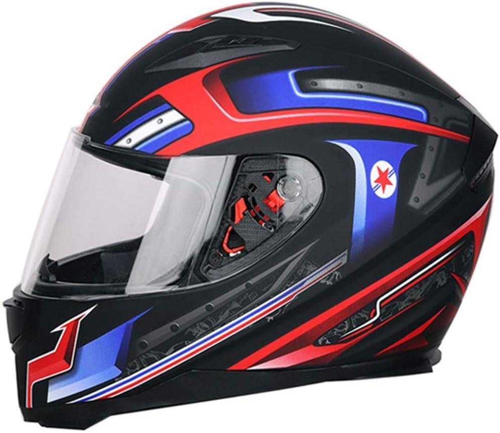 オートバイヘルメット/男性と女性のフルフェイスヘルメットカバー/クールな四季ダブルレンズ機関車レーシングヘルメット  Medium