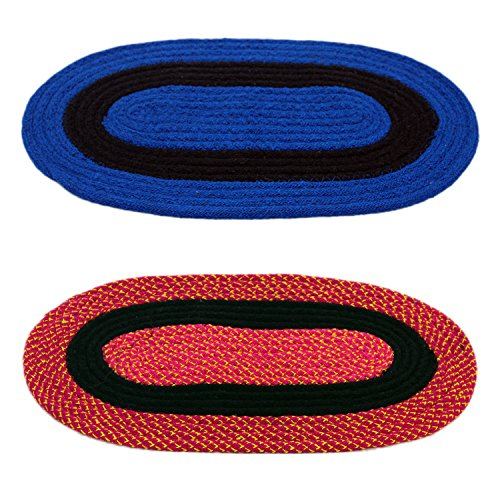 Story@Home Handicraft Style Eco Series 2 Piece Cotton Blend Door Mat Set – 16″x24″, Blue and Red