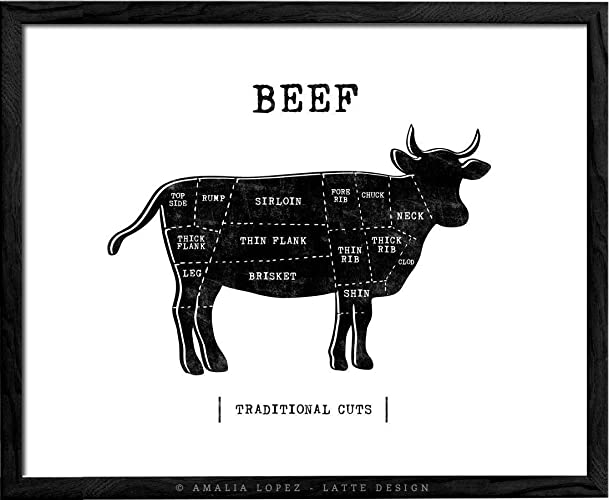 Diagram Of Beef Cuts | Traditional Beef Butcher Kitchen Print By Latte Design Butcher