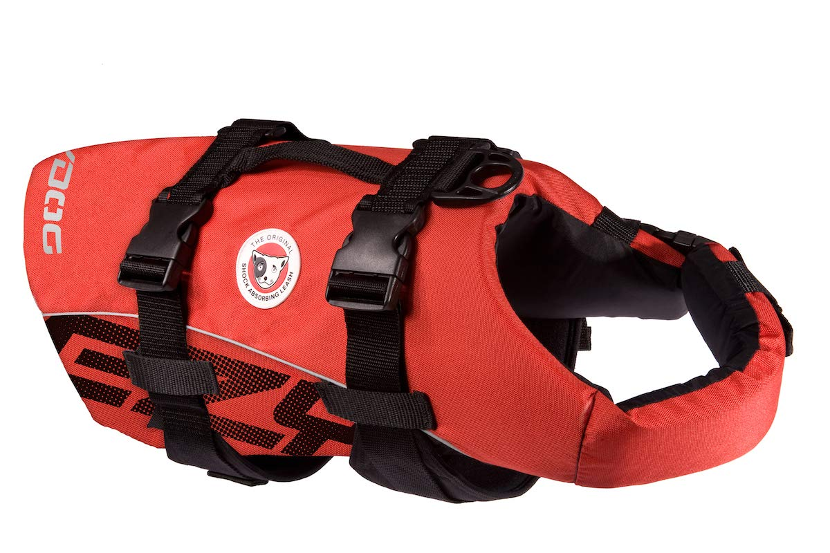 EzyDog Premium Doggy Flotation Device (DFD) - Adjustable Dog Life Jacket Preserver with Reflective Trim - Durable Grab Handle for Safety and Protection - 50% More Flotation Material (Medium, Red)