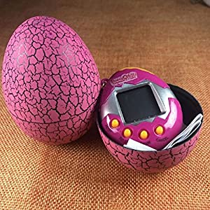 Basage Electronic Pets Toy Key Digital Pets Tumbler Dinosaur Egg Virtual Pets Rose Red