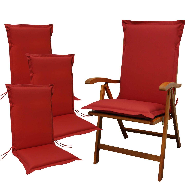 Indoba 4 x Sitzauflage Hochlehner Premium Polsterauflage Rot