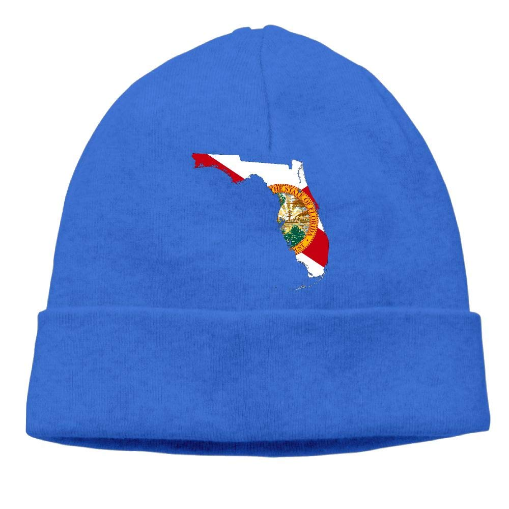 Wool Beanies Cap BF5Y3z/&MA Unisex Florida State Map with Flag Knitted Hat