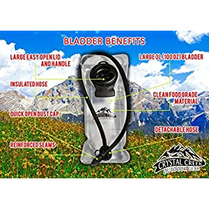 3L Hydration Bladder & Insulated Sleeve - by Crystal Creek - Easy Cleaning and Filling Water Reservoir. BPA Free Tastefree FDA Approved | Keep Water Cool while Hiking Cycling Running and Kayaking!