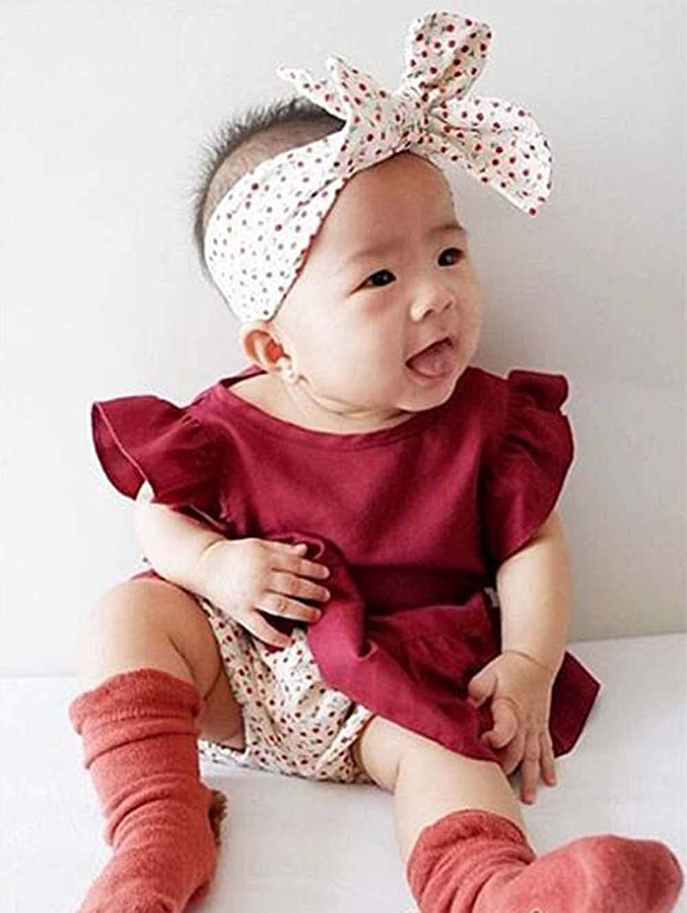 Infant Baby Girls Dress Fly Sleeve Tops Floral Shorts Casual Solid Ruffle Princess Tutu Dress 0-3 Years Summer Outfits