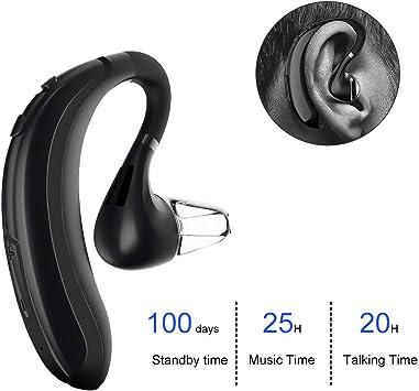 Auriculares Bluetooth, Manos Libres Oreja, atongm Auricular Inalámbrico Bluetooth,18 Horas de Tiempo de conversación,equipados con Chips CSR, Llamadas