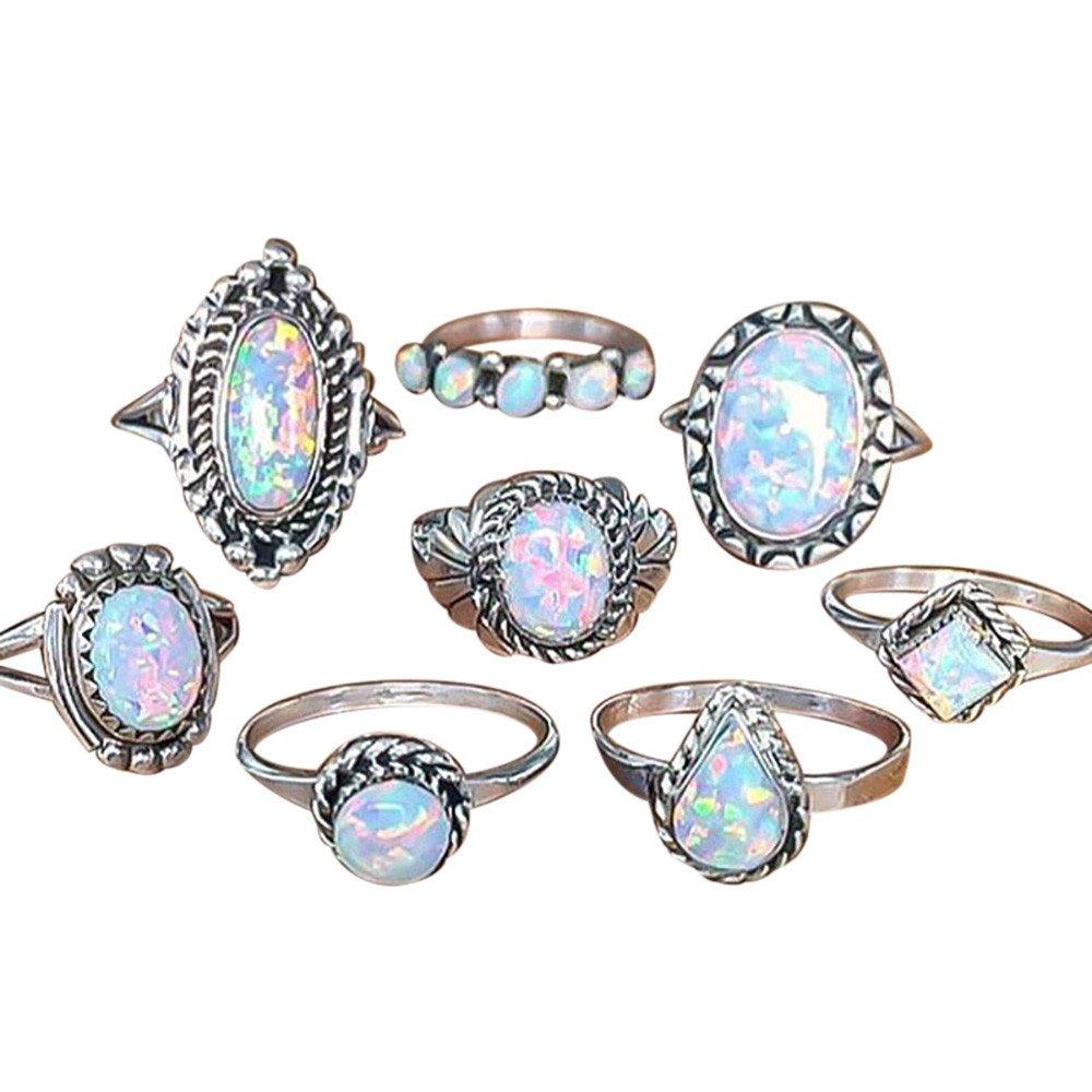 XGUMAOI 8Pcs Wedding Engagement Jewelry Rings Set Natural Gemstone Fire Opal Diamond Ring (Silver)