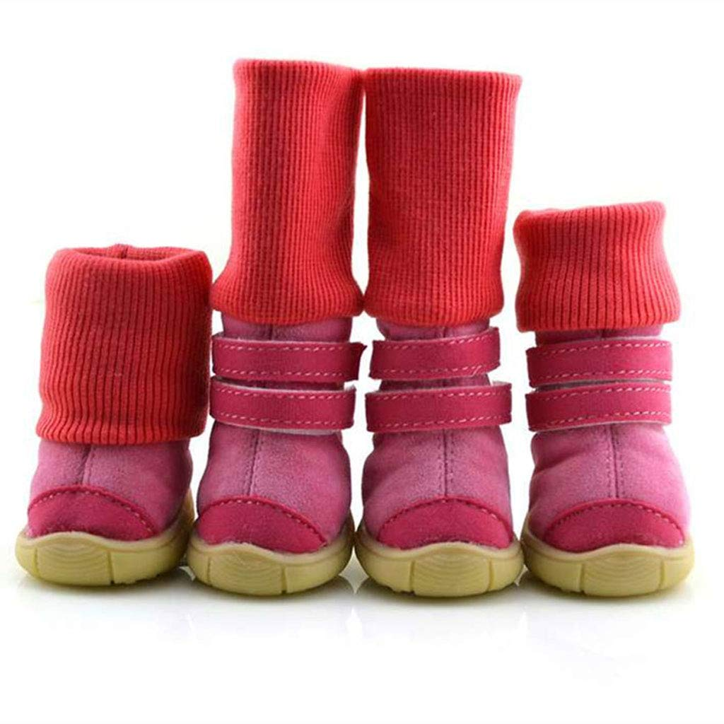 Red 2 Red 2 Dog shoes Snow Boots Slip Wear Dog shoes Autumn and Winter Cotton shoes Teddy shoes Set of 4 Pet shoes (color   Red, Size   2)