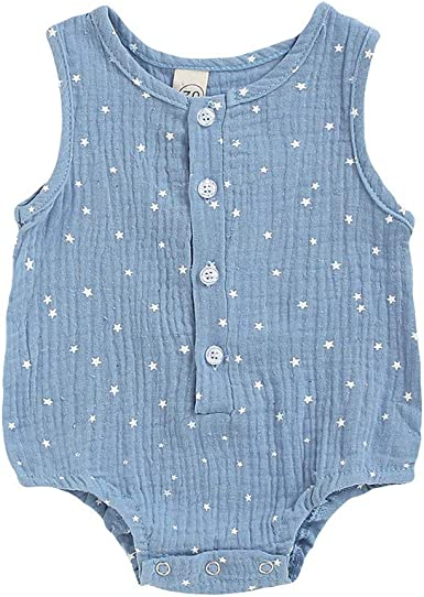 WARMSHOP Baby Boys Girls Sleeveless Solid Buttons Hooded Creeper Outfits Newborn Summer Romper Jumpsuit