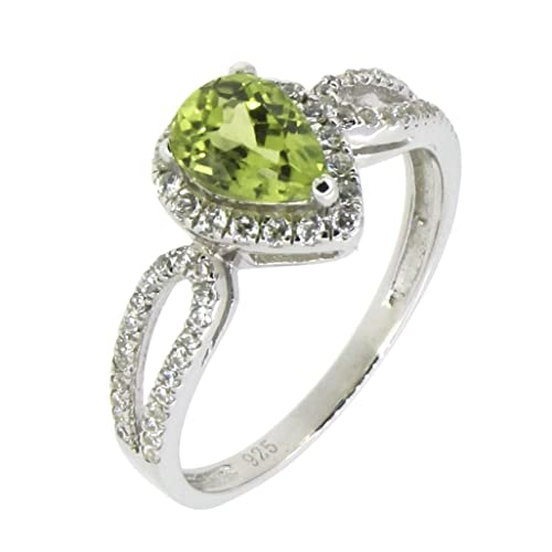 BL Jewelry Sterling Silver Pear Cut Natural Peridot Ring 7 10 CT.T.W in Heart Shape