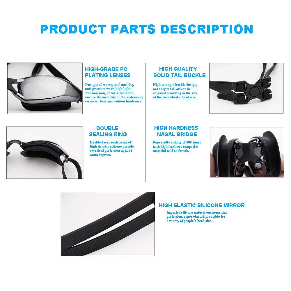 Enshey Swim Goggles Professional Anti Fog UV Goggles Waterproof No Leaking Swim Glasses for Women Men Adult Youth