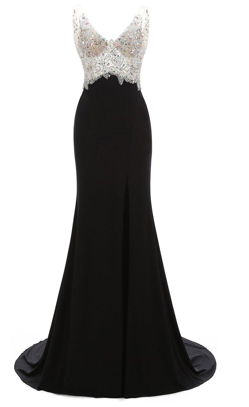 Manfei Women's V-Neck Crystal Beaded Mermaid Black Long Prom Dress Slit Side Size 6