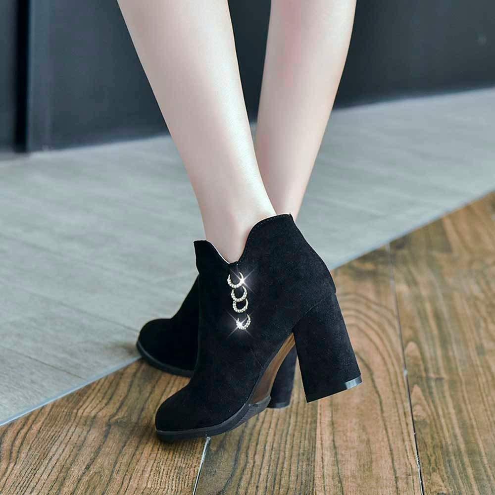 ZHRUI Stiefel Frauen Frauen Frauen Schuhe Stiefeletten Mode Frauen Wildleder Stiefeletten Hochhackige Martin Stiefel Einzelne Stiefel (Farbe   Schwarz Größe   37) 3d7427