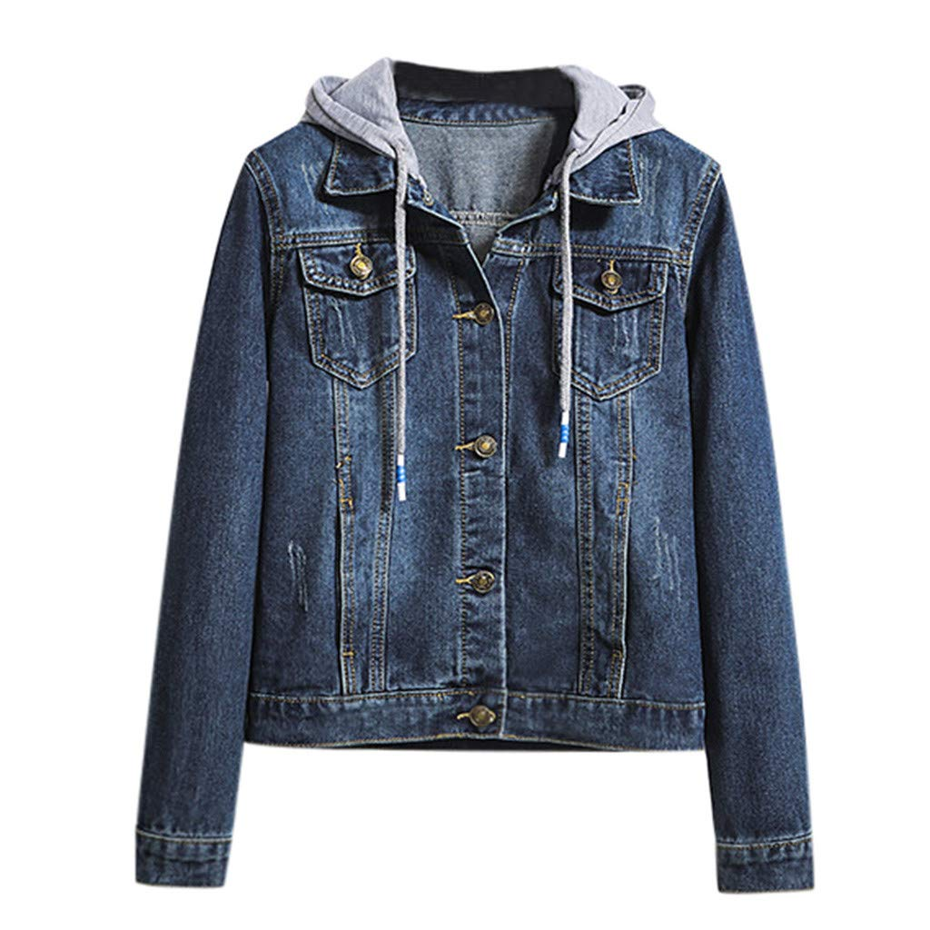 Womens Casual Retro Jean Jacket Long Sleeve Denim Coat Hooded Pockets Jacket by Cardigo